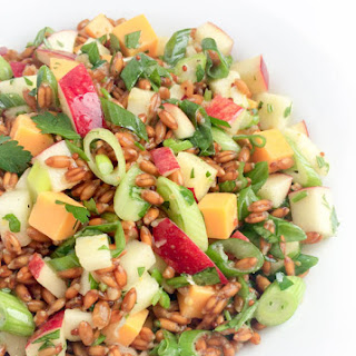 Spelt Salad with Apples, Cheddar and Scallions.