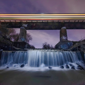 Water under the train by Duane Vosika - Buildings & Architecture Bridges & Suspended Structures ( landscapes, nature, waterfall, night, nightscape, light trails, long exposure, bridge, water, lights, train, night photography )