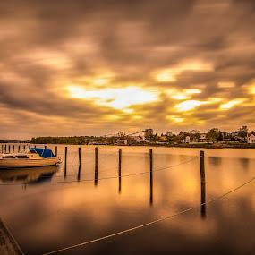 by Patrick Pedersen - Landscapes Waterscapes ( harbor, sellbakk, vann, sea, ocean, landscape, subtle, norway, lights, clear, fredrikstad, sellebakk havn, sellebakk, long exposure, aqua, havn )