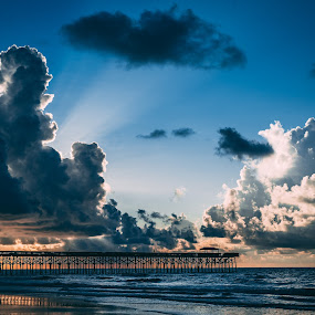 Morning Ocean View by Travis Wessel - Landscapes Beaches ( sky, pier, sunrise, ocean, beach, sunset, clouds, morning )