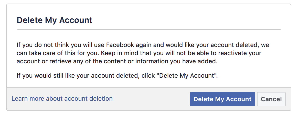 Learn how to delete your fb account group or web page easy guide all that you must do is click on delete my account ccuart Images