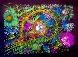Photo: 011 IN FULL BLOOM ~ РОЗМАЙ Luba Bilash original ~ mixed media matted & framed $300 SOLD