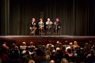 Photo: Panel discussion with (L to R) Michael Mann, Naomi Oreskes, Robert Kenner, and Jamy Ian Swiss