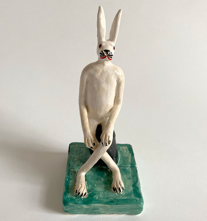 "Imeldo ""Melvin"" Wagenaar, A Cross-Legged Hare - Green."