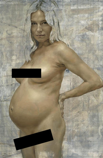 A nude portrait of Sienna Miller by artist Jonathan Yeo, just weeks before she gave birth to her daughter Marlowe. The artist has praised her