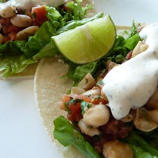 Quick Bean Tacos with Spicy Yogurt Sauce (Gluten Free).