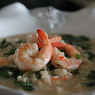 Shrimp Avgolemono with Spinach #SundaySupper
