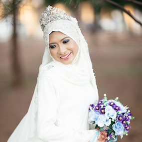Bride with a bouquet of flower  by Zul Murky - Wedding Bride ( wedding, white dress, malay bride, bride )