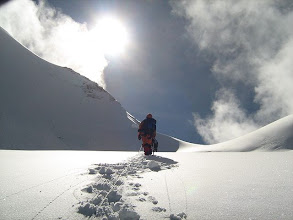 Photo: Towards the col (col between two summits)