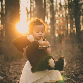 Curious by Maria Lucas - Babies & Children Children Candids ( outdoor, fine art photography, childhood, curiosity, sunset, teddy bear,  )