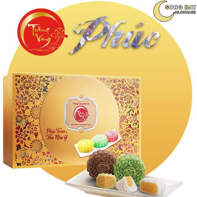 Hộp Kinh Đô trăng vàng pha lê toàn phúc vàng