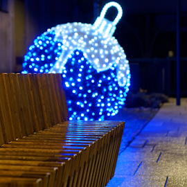 by Dalibor Jud - City,  Street & Park  City Parks ( croatia, klupa, hrvatska, bench, advent, balls, crikvenica, christmas, night photography )