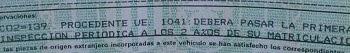 detalle tarjeta itv con clasificación Taxi