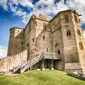 Warkworth Castle by Davey T - Buildings & Architecture Public & Historical ( english heritage, blue sky, northumberland, sunny, warkworth, castle, morning, amble, historic )