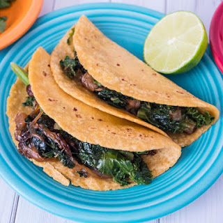 Pressure Cooker Kale Tacos with Caramelized Onions.