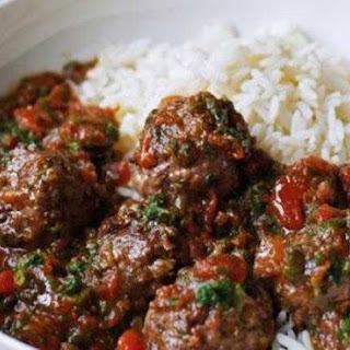 Saucy Meatballs With Rice.