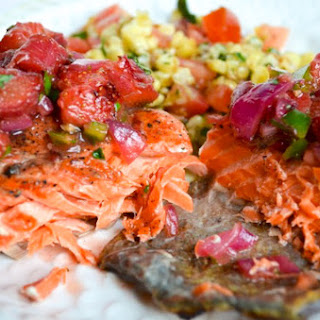 COPPER RIVER SALMON WITH RHUBARB AND STRAWBERRY SALSA