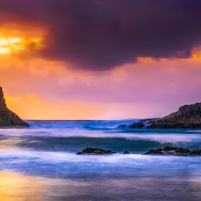 Dusk at Seal Rock by Tomas Rupp - Landscapes Waterscapes ( clouds, nature, waterscape, sunset, ocean, landscape, dusk,  )