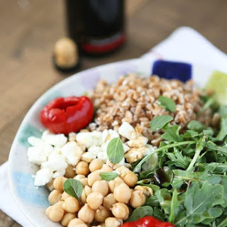 Mediterranean Farro Salad with Arugula and Chickpeas.
