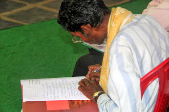 Photo: Each of the pastors who attended were given a worksheet with the an outline of the teaching material with a place to add notes. The pastors diligently took notes as we were teaching. The hunger for the Word of these Indian leaders is tremendously invigorating for us a teachers.