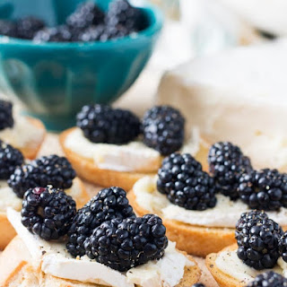 Crostini with Brie and Fresh Blackberries.