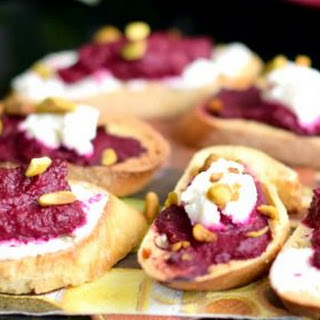 Roasted Beet Crostini with Goat Cheese and Pistachio.