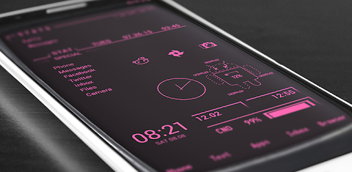 CRT monitor pink icons, battery widget, wallpapers and animated live wallpaper