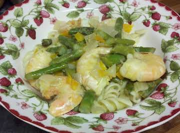 Shrimp and Asparagus in Lemon-Wine Reduction Sauce