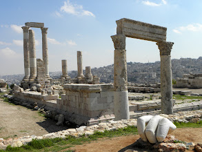 Photo: Part of a large hand is all that remains from a large statue Amman Jordan
