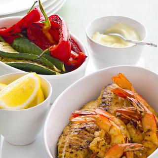 Spanish-Style Grilled Seafood with Garlic Mayo.