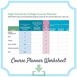 google sheets template high school to college course planner worksheet