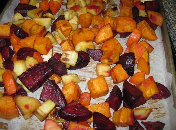 Transfer to a roasting dish, drizzle over the honey, toss to coat evenly. ...