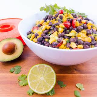 Cilantro Lime Black Bean, Corn & Avocado Salad.