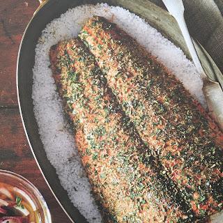 Salt-Baked Herbed Salmon.
