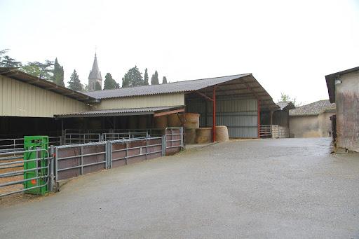 Une partie des bâtiments, où sont stockés la paille et quelques vaches