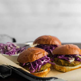 Curry Chickpea Burgers with Coconut Cabbage Slaw.