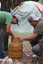 Photo: Setting up the stove to heat some river water for yerba mate