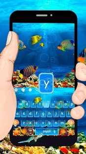 Blue Deep Sea Word Keyboard Theme - náhled