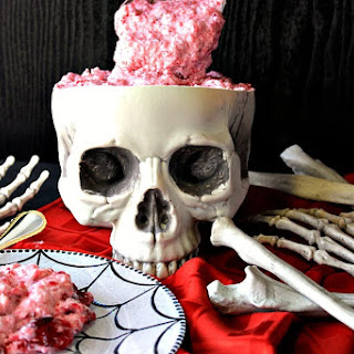 Deliciously Gory Brain Food Jello Fruit Salad for Halloween.