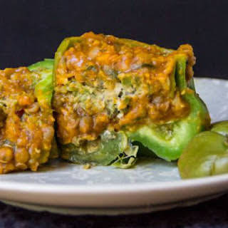 Lentil and Pumpkin Tagine Stuffed Peppers [Vegan].