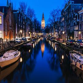 Amsterdam reflection by Dennis Brunel - City,  Street & Park  Night ( #amsterdam #canal #churge #boats #street #lights,  )