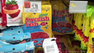 Photo: So we picked up some Swedish Fish. I was so tempted to grab two bags so I could enjoy one on my own... but I stopped myself.