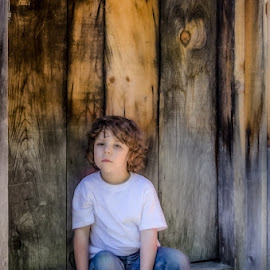 A boy & His Bear by Chris Cavallo - Babies & Children Children Candids ( tshirt, candid, teddy, teddy bear, doorway, boy, jeans,  )