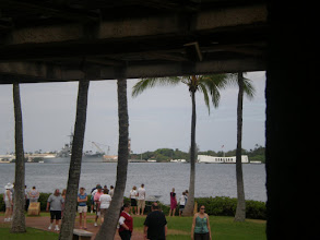 Photo: view of the USS Arizona memorial in the distance