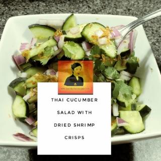Thai Cucumber Salad with Dried Shrimp Crisps.