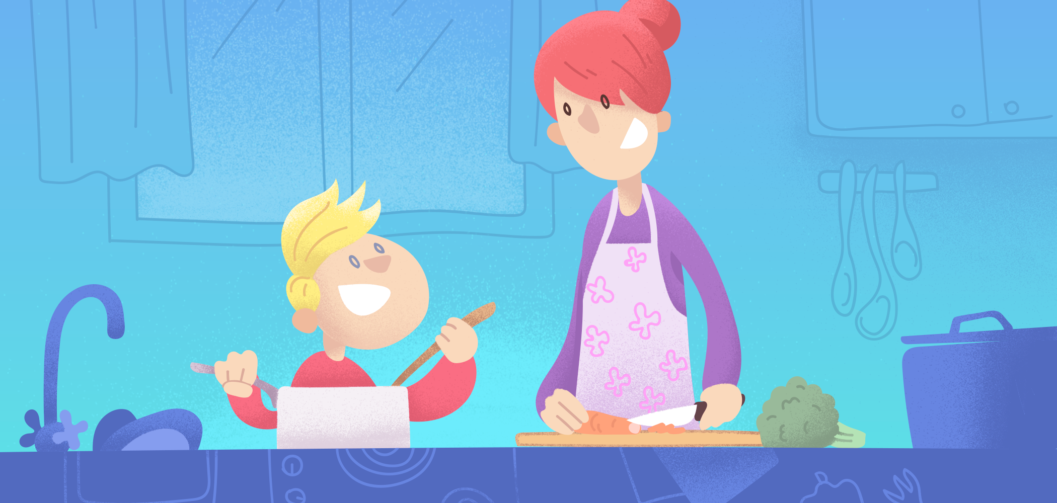 A drawing of a parent preparing dinner with the help of their child.