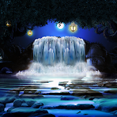 Night 3D Waterfall Wallpaper