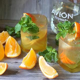 Orange Mint Tequila Cocktail.