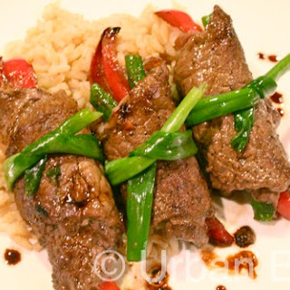 Ginger Pepper Scallion Beef Rolls
